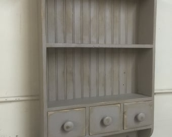 French Country Wall Shelf, Cottage Chic Shelf, Shaker Shelf,kitchen Shelf,antique  Style Wall Shelf,Primitive Shelf With Drawers,bath Cabinet
