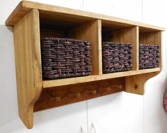 Superbe Rustic Storage Shelf, Primitive Shaker Coat Rack,Farmhouse Basket Shelf,  Rustic Cubby Shelf, Peg Rack, Shaker Coat Rack, Primitive Coat Rack