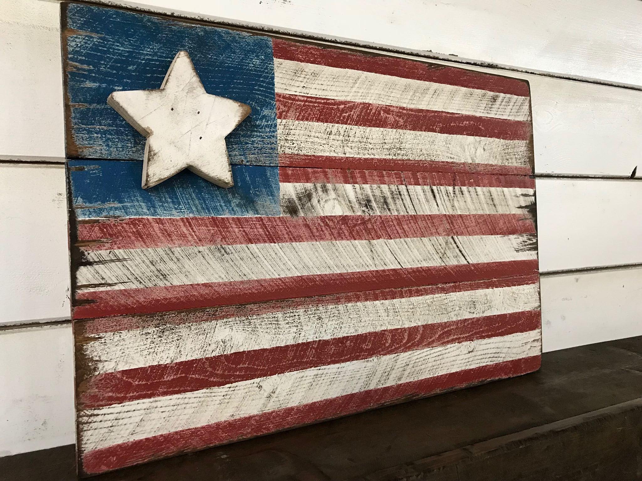 Americana Flag Barnwood Style Flag Distressed Flag Old