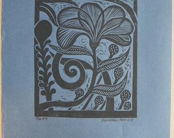 Dark Flower lino cut print