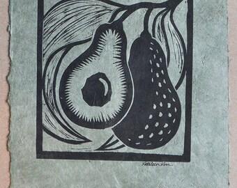 Avocados lino cut print