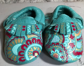 Teal Painted Baby Moccasins - Pink & Gold Bohemian Design -  6-12 months