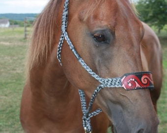 Red and Bronze Buck Stitched Noseband Rope Horse Halter