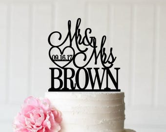 Mr & Mrs Wedding Cake Topper - Cake Topper - Cake Topper with Last Name