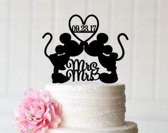 Mickey and Minnie Wedding Cake Topper Glitter Wedding Cake | Etsy
