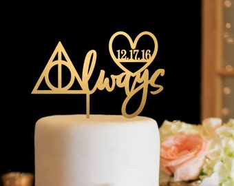 Harry Potter Wedding Cake Topper, Always Wedding Cake Topper, Custom Wedding Cake Topper, Harry Potter Topper for Wedding Cake, Gold Topper