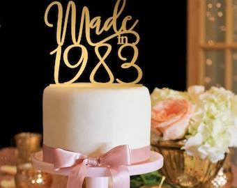 Birthday Cake Topper, Customized Birthday Cake Topper, Personalized Cake Topper for Birthday, Gold Cake Topper, Birthday Party Decorations