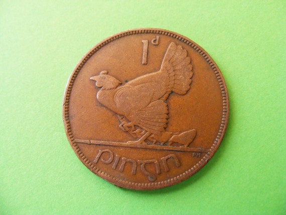 Ireland Hen And Chickens LAST YEAR ISSUED 1968 Irish One Penny Coin Harp