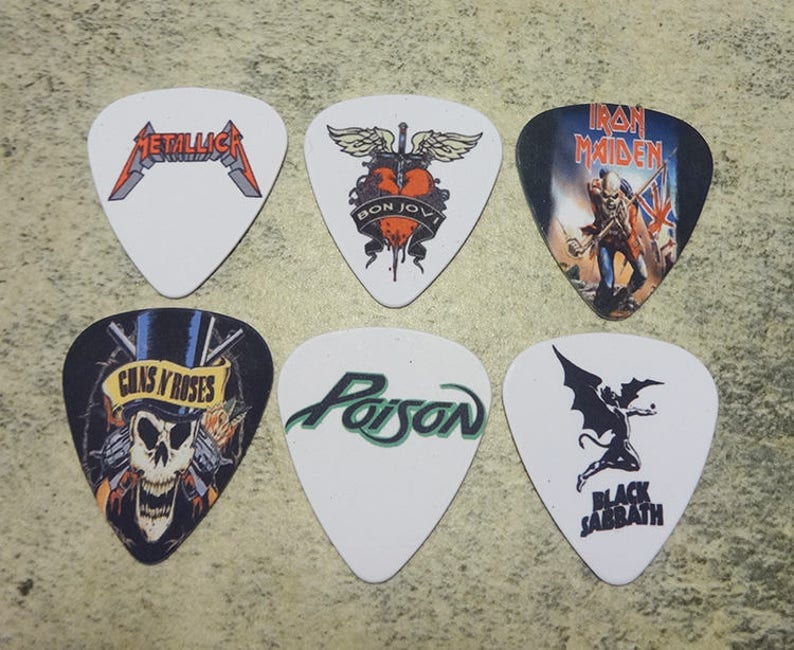 One set of 6 Rock band Single Sided Picture Guitar Picks