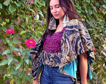 Beautiful Bold Side Tie Top - One size - reclaimed vintage fabrics