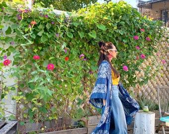 Reversible Denim Silver Kimono Jacket Duster - Upcycled Vintage Tablecloth, Denim fabric