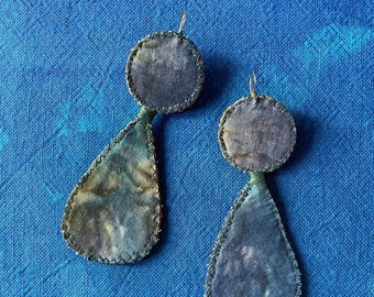 Blue Green Tie-Dye Hand-Stitched Recycled Fabric Earrings -Recycled Materials