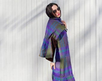 Lux Hunter Green Plaid Super Scarf - reclaimed wool and velvet