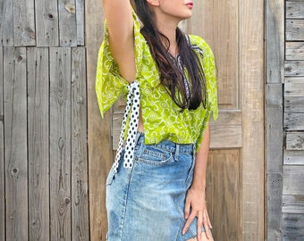 Chartreuse Side Tie Top - One size - reclaimed vintage fabric