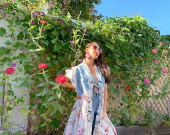 Colorful Birds in Paradise Kimono Jacket Dress - Upcycled, Denim fabric