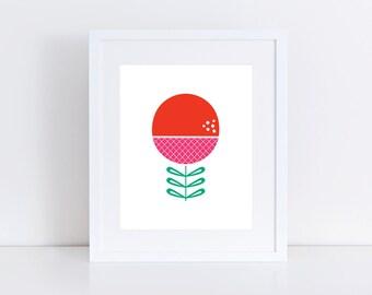 Bloom Red Print 8 x 10