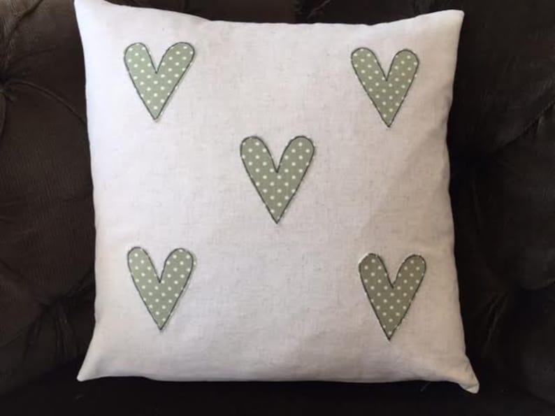 Linen hearts applique cushion cover etsy