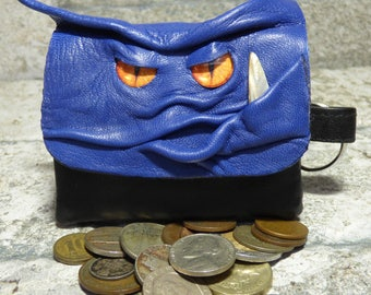 Blue Leather Zippered Coin Purse Change Purse Monster Face Pouch Key Ring 14