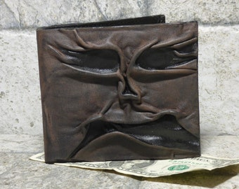 Necronomicon Evil Dead Leather Men Bi Fold Wallet Goth Black Brown Zombie Monster Face Horror  Fantasy Fathers Day Gift 538