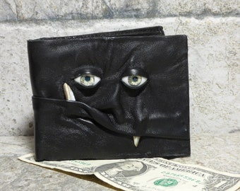 Leather Wallet Monster Face Fantasy Magic The Gathering Horror World Of Warcraft  Fathers Day Gift Black 545