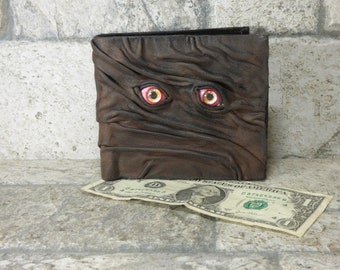 Leather Wallet Zombie Fathers Day Gift Monster Face Fantasy Magic The Gathering Horror World Of Warcraft Black 561