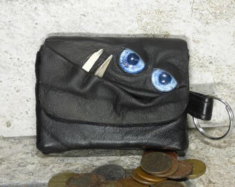 Coin Purse Zippered Change Purse Black Leather Monster Face Pouch Key Ring 30