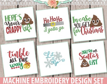 Christmas Toilet Paper Embroidery Design Set - Instant Download