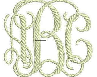 Interlocking Rope Monogram Embroidery Font Set - Instant Download