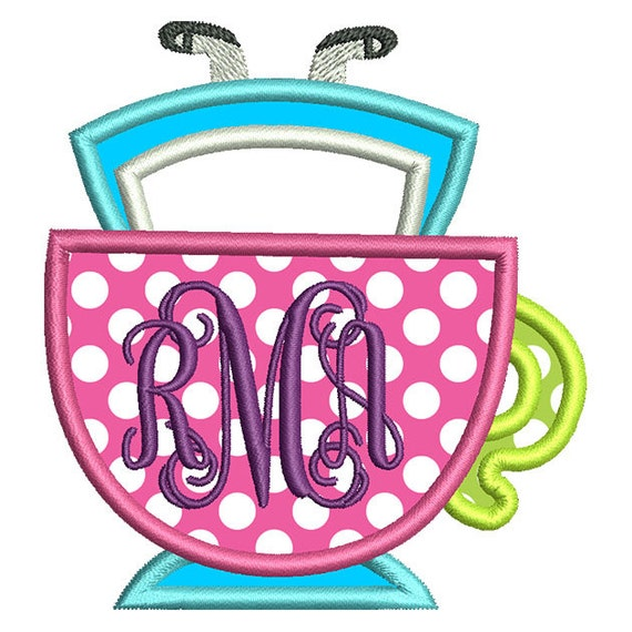 Alice Wonderland Monogram Frame Applique Embroidery Design Etsy