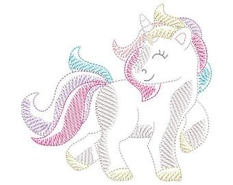 Sketch Unicorn Machine Embroidery Design - Instant Download