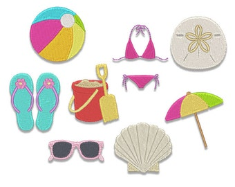 Beach Minis Embroidery Design Set - Instant Download