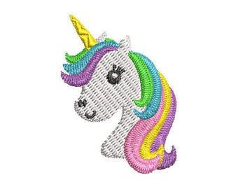Mini Unicorn Head Embroidery Design - Instant Download