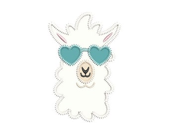 Llama Heart Glasses Applique Embroidery Design- Instant Download