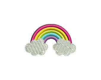 Mini Rainbow Machine Embroidery Design - Instant Download