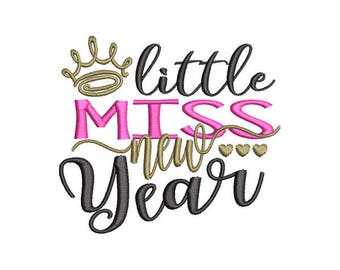 Little Miss New Year Embroidery Design - Instant Download