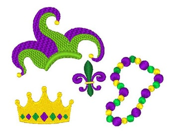 Mardi Gras Minis Embroidery Design Set - Instant Download