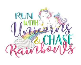Run with Unicorns Machine Embroidery Design - Instant Download