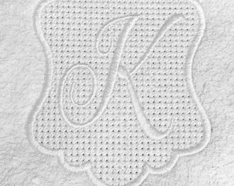 Embossed Embroidery Monogram Frame - Instant Download