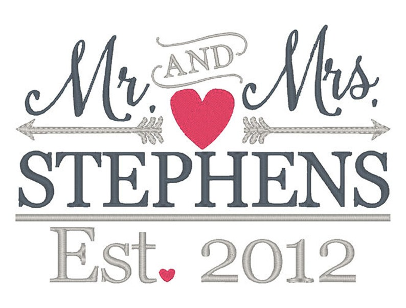 MR & MRS Arrows Wedding Embroidery Design  Instant Download image 0