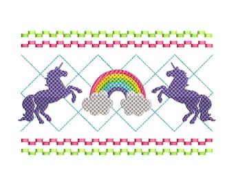 Smocked Unicorn Machine Embroidery Design Set - Instant Download