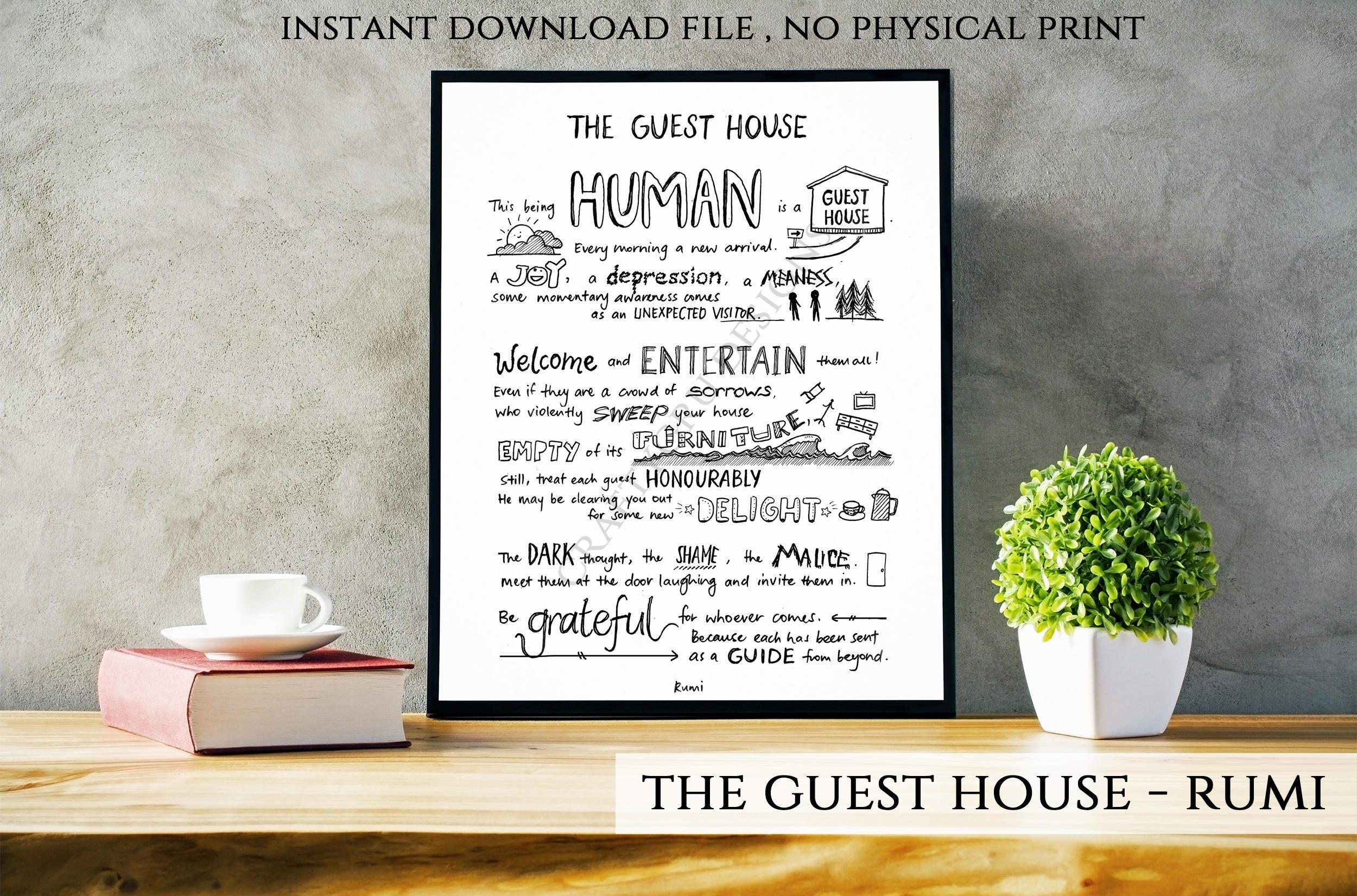 The Guest House Guesthouse Rumi Poem Rumi Quote Custom Etsy