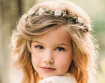 Child Flower Crown - Flower Crown Wreath - Bridal Flower Crown - Flower Girl - 1st Communion - Engagement Photos - Style: CHARLOTTE