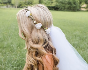 Flower Crown Veil - Boho Bachelorette Veil - Bachelorette Flower crown - Bridal Crown - Bridal Flower Crown - Bachelorette Veil - Bride