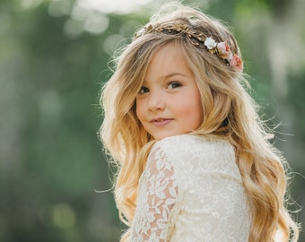 Gold Flower Crown - Flower Crown Wreath - Wedding Flower Crown - Bridal  Headpiece - Maternity Photo Shoot - Child flower crown 907588189d6
