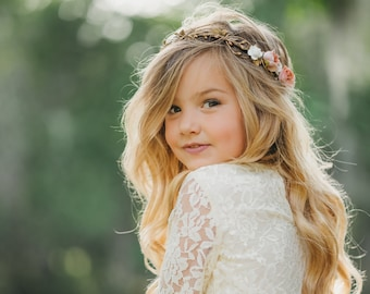 527a1a9e4f5 Gold Flower Crown - Flower Crown Wreath - Wedding Flower Crown - Bridal  Headpiece - Maternity Photo Shoot - Child flower crown
