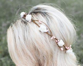Flower Crown - Flower Crown Wreath - Bridal Headpiece - Natural Wedding Hair Wreath - Bridal Halo Headpiece - Style: AVERY
