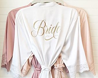 d7d894bf42e8 Bride Robe - Bridesmaid Robes - Bridal Robe - Silk Satin   Lace Robe