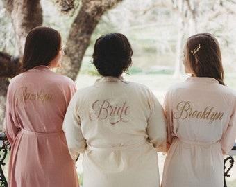 Bride Robe - Bridesmaid Robes - Bridal Robe - Silk Satin & Lace Robe - Bride Gift - Bridesmaid Gift - 10% off BULK ORDERS