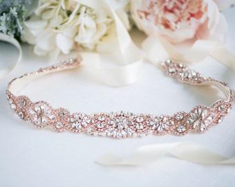 Rose Gold Bridal Belt - Rose Gold Wedding Belt - Wedding Dresss Sash - Rose  Gold Bridal Sash - Crystal Belt - Crystal Headband 80c02568d71