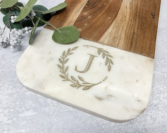 Personalized Marble Cheese Board - Custom Cutting Board  - Charcuterie Board - Serving Tray - Wedding Gift- Wood Anniversary - WOOD & MARBLE